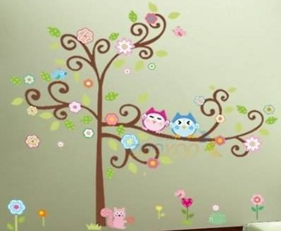 EASY NURSERY IDEA! Large 59''x 57'' Colorful Owl Big Tree Animal Garden Removable Wall Decal  $6.14 + $4.99 shipping