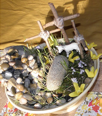 Remember Jesus ~ made our own garden with glued rocks for tomb and used rye grass and moss, along with sticks from yard.
