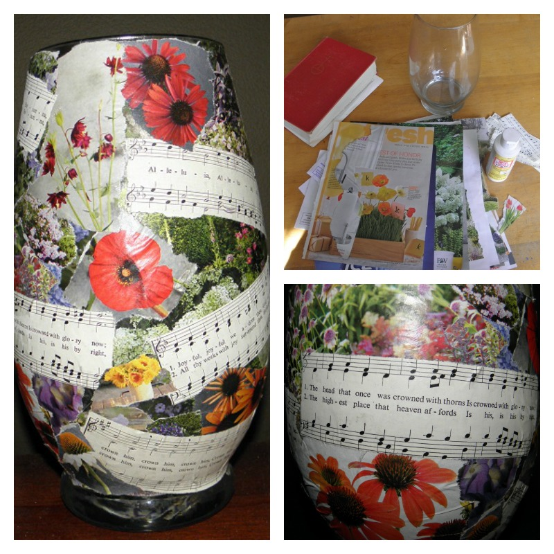 vase made into candle by doing decoupage with magazine and hymnal pages